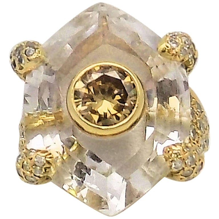 Diamond, Quartz and Yellow Gold Ring For Sale