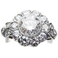 Art Deco 3.19 Carat Diamond 18 Karat White Gold Halo Engagement Ring