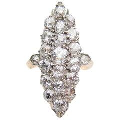 Victorian 2.14 Carat Diamond Platinum-Topped 18 Karat Gold Navette Cluster Ring