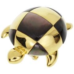 Mauboussin Turtle Brooch Black Shell 750 18 Karat Yellow Gold