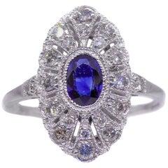 Sapphire Art Deco Style Diamond 18 Carat White Gold Dress Ring