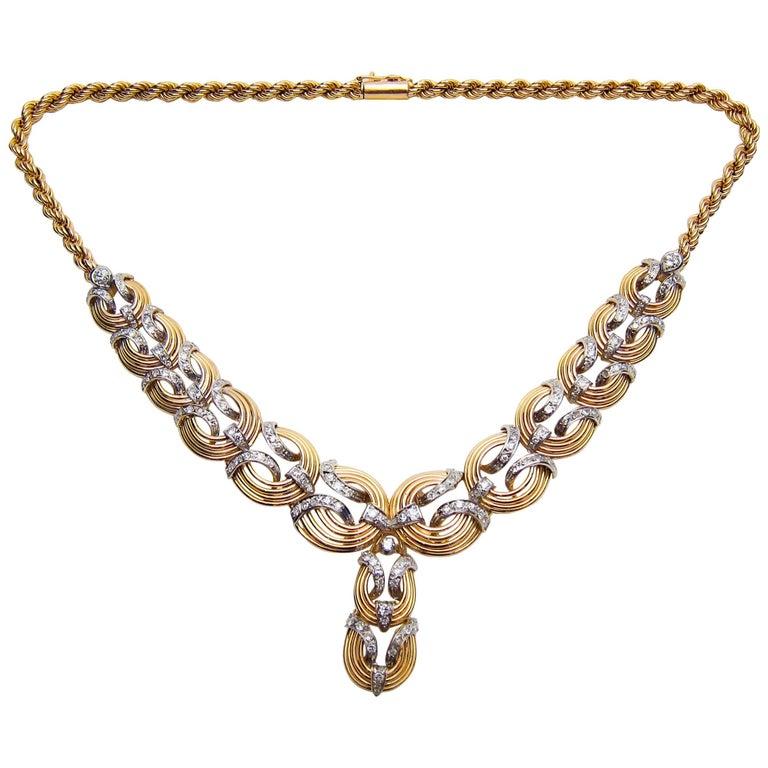 Retro Era 2.1 Carat Diamond and 18 Karat Gold Handmade Rope Necklace