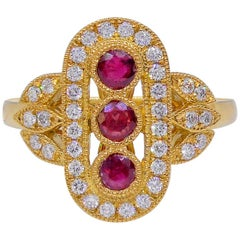 Ruby Art Deco Style Three Row Diamond 18 Carat Yellow Gold Dress Ring