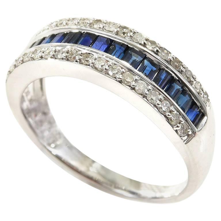 Sapphire Diamond 18 Carat White Gold Dress Band Ring