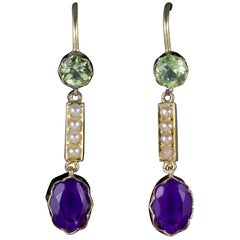 Antique Victorian Suffragette Earrings 15 Carat Gold Amethyst Peridot Pearls