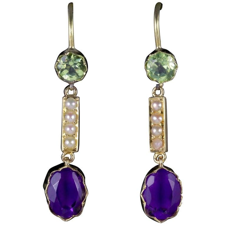 Antique Victorian Suffragette Earrings 15 Carat Gold Amethyst Peridot Pearls