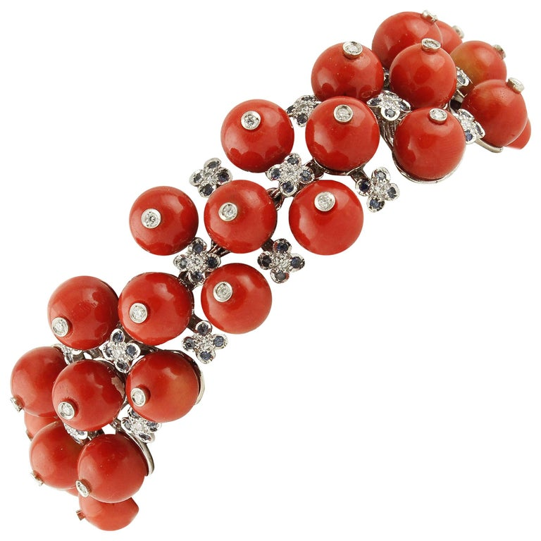Sapphires Coral  Diamonds White Gold Berries Bracelet