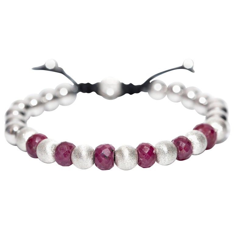 10.98 Carat Ruby, Silver and Stainless Steel beaded Classic Macrame Bracelet