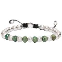 11.76 Carat Emerald Silver Stainless Steel Modern Classic Bead Macrame Bracelet