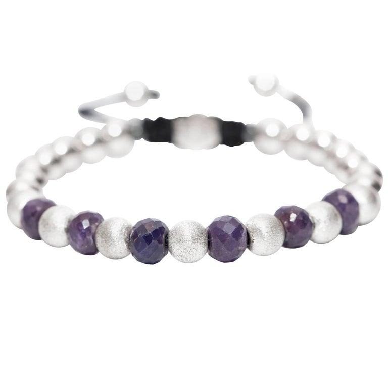 11.46CT Blue Sapphire Stainless Steel Silver Tresor Logo Macrame bead Bracelet