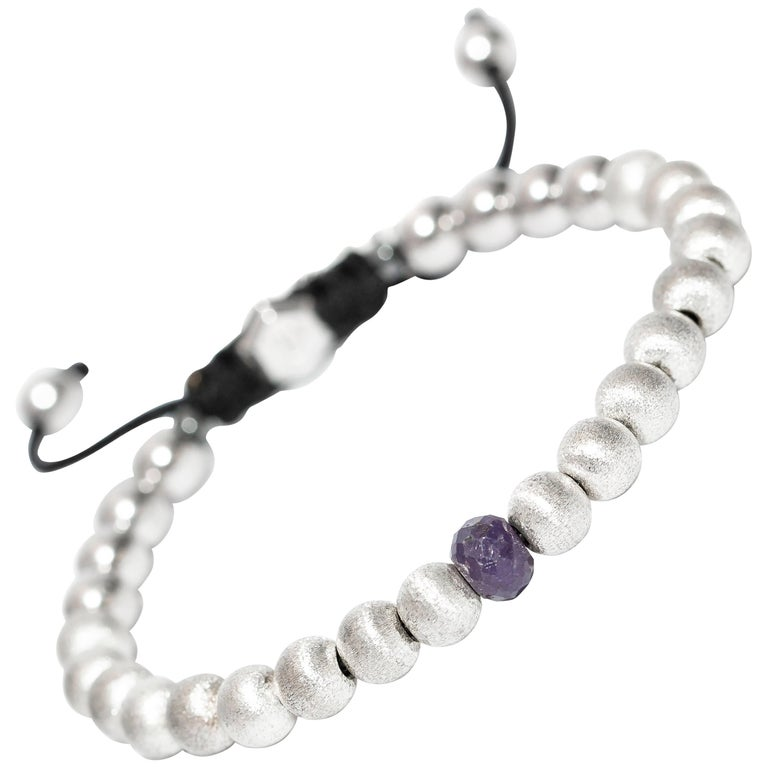1.91Carat Blue Sapphire Stainless Steel Silver Tresor Logo Macrame Bead Bracelet