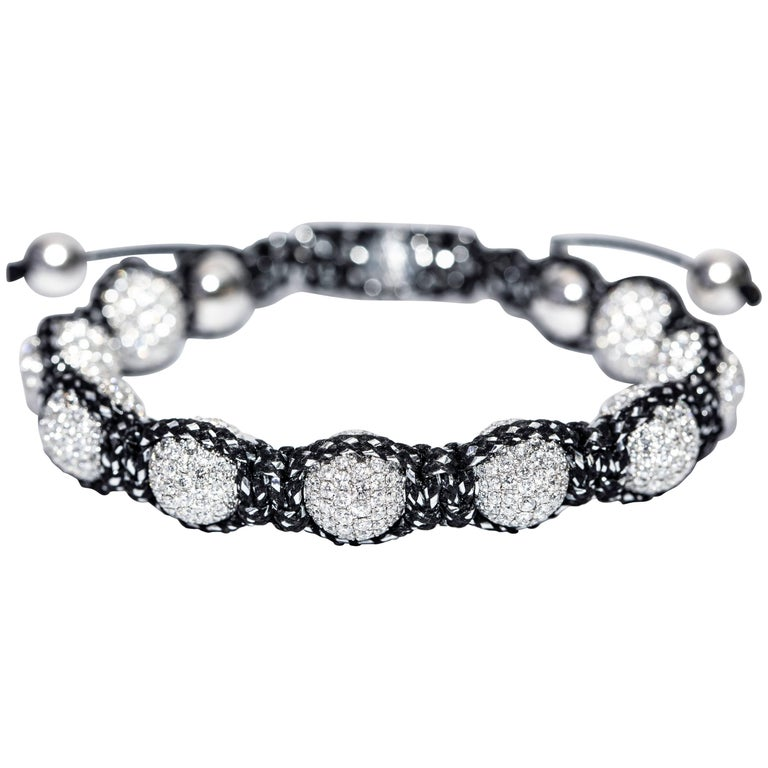 16.20 Carat G -VS Round Brilliant Diamond 18 Karat Gold Pave Ball Cord Bracelet