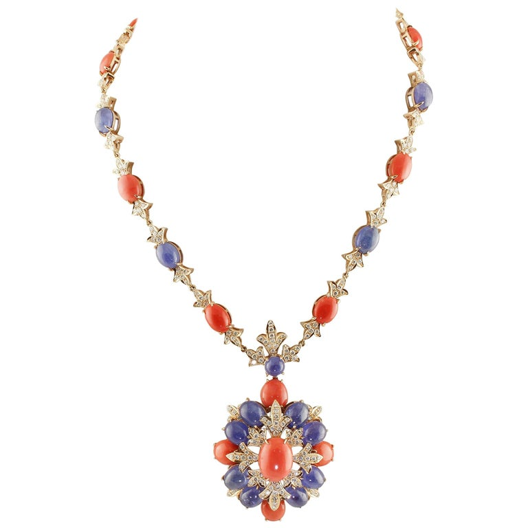 Diamonds Coral Tanzanite Rose Gold Pendant Necklace