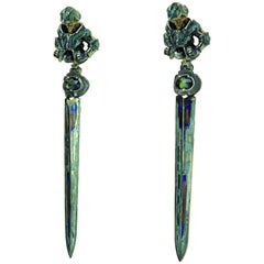 Karl Wunderlich White Gold Silver Sapphires Enamel Earrings