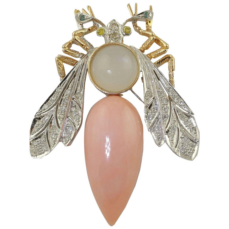 Coral, Diamonds, Moonlight, White and Rose Gold Brooch / Pendant