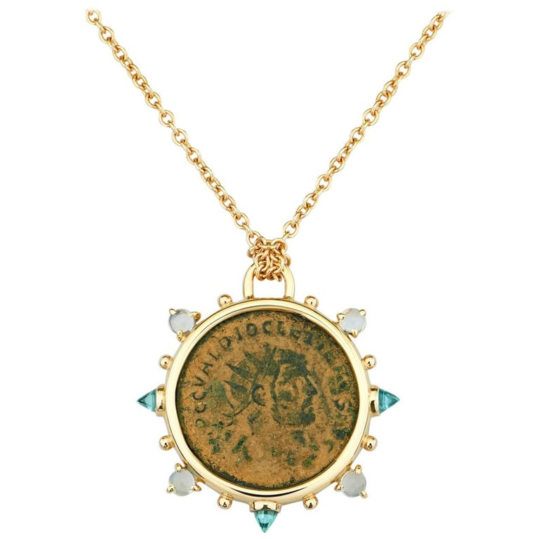 Dubini Diocletian Ancient Bronze Coin Medallion Topaz Moonstone 18 Gold Necklace