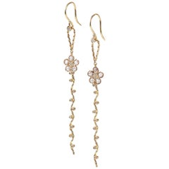 Persephone 14k Twist Set Rose-Cut Diamond Floral Detachable Dangle Earrings