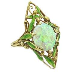 Art Nouveau 1.33 Carat Opal Enamel  Ring by Delurret 18 Karat Yellow Gold
