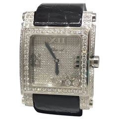 Chopard Happy Sport Square II Pave Diamond Dial and Bezel Ladies Watch 28/3571
