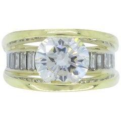 GIA Certified 3.22 Carat Diamond Engagement Ring in 18 Karat Gold