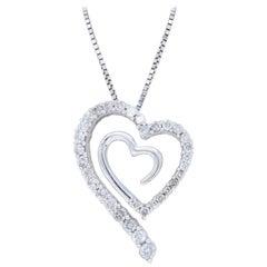 Double Heart .75 Carat Diamond Necklace