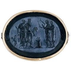 14 Karat Tri-Color Gold Ring, Intaglio Engraved, Oval Onyx Mythological Scene