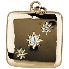 14 Karat Gold .25 Carat Diamond, Top-Opening Square Picture Locket Pendant Charm