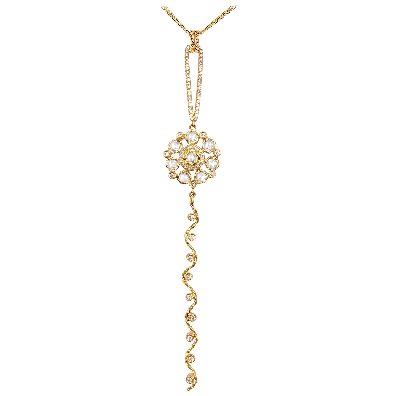 Persephone 18K Gold Rose Cut Diamond Floral Pendant Necklace