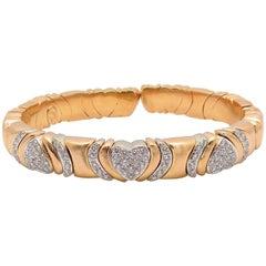 18 Karat Rose Gold and White Gold Diamond Cuff Bracelet, Heart Motif