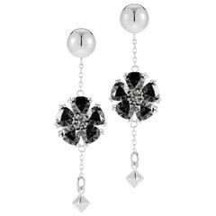 Black Sapphire Blossom Stone Pyramid Earrings