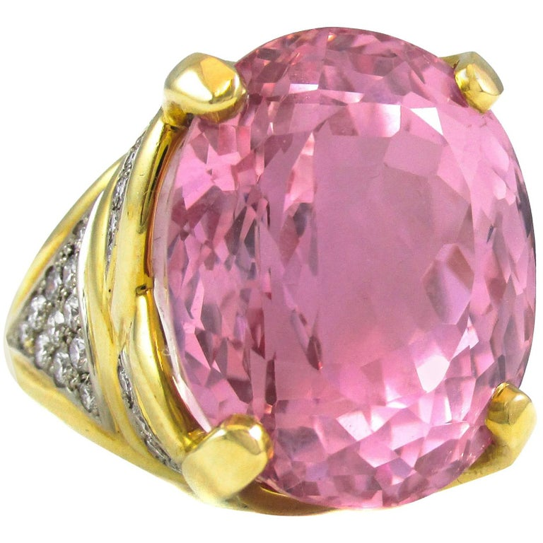 Impressive Rose Pink 50 Carat Kunzite Diamond Ring