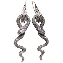 Late Victorian 3.39 Carat Old European-Cut Diamond Handmade Snake Earrings