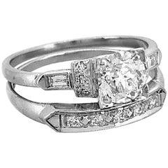 Art Deco .75 Carat Diamond Antique Wedding Set Platinum