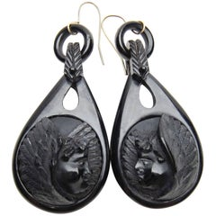 Victorian Carved Gutta-Percha Cherub Dangle Mourning Earrings