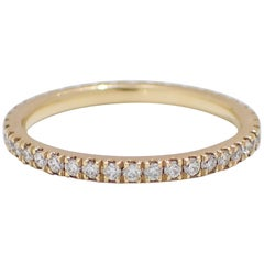 18 Karat Yellow Gold, Stackable, Thin Eternity Band with 0.40 Carat of Diamond