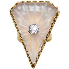 Art Deco .40 Carat Old European-Cut Diamond 14 Karat Gold Rock Crystal Ring