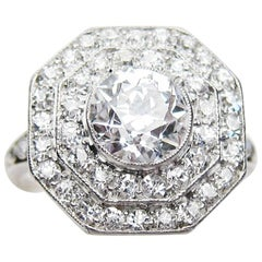 Art Deco 1.98 Carat Diamond Double-Tier Platinum Halo Engagement Ring