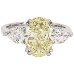 GIA Certified Natural Light Yellow 3.82 Carat Oval Chardonnay Diamond® Ring