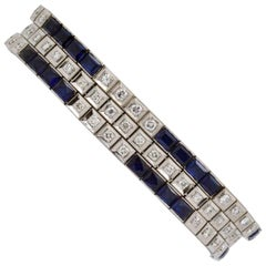 Three Platinum Bracelets; 2.89 Carat Diamonds 9.9 Carat Synthetic Sapphires