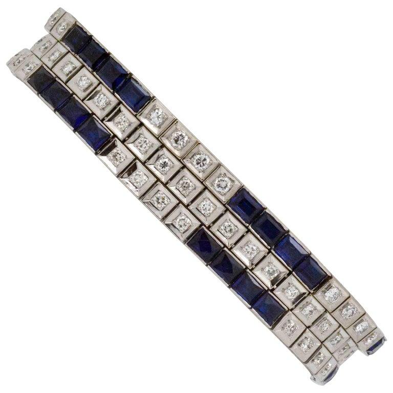 Three Platinum Bracelets; 2.89 Carat Diamonds 9.9 Carat Synthetic Sapphires For Sale