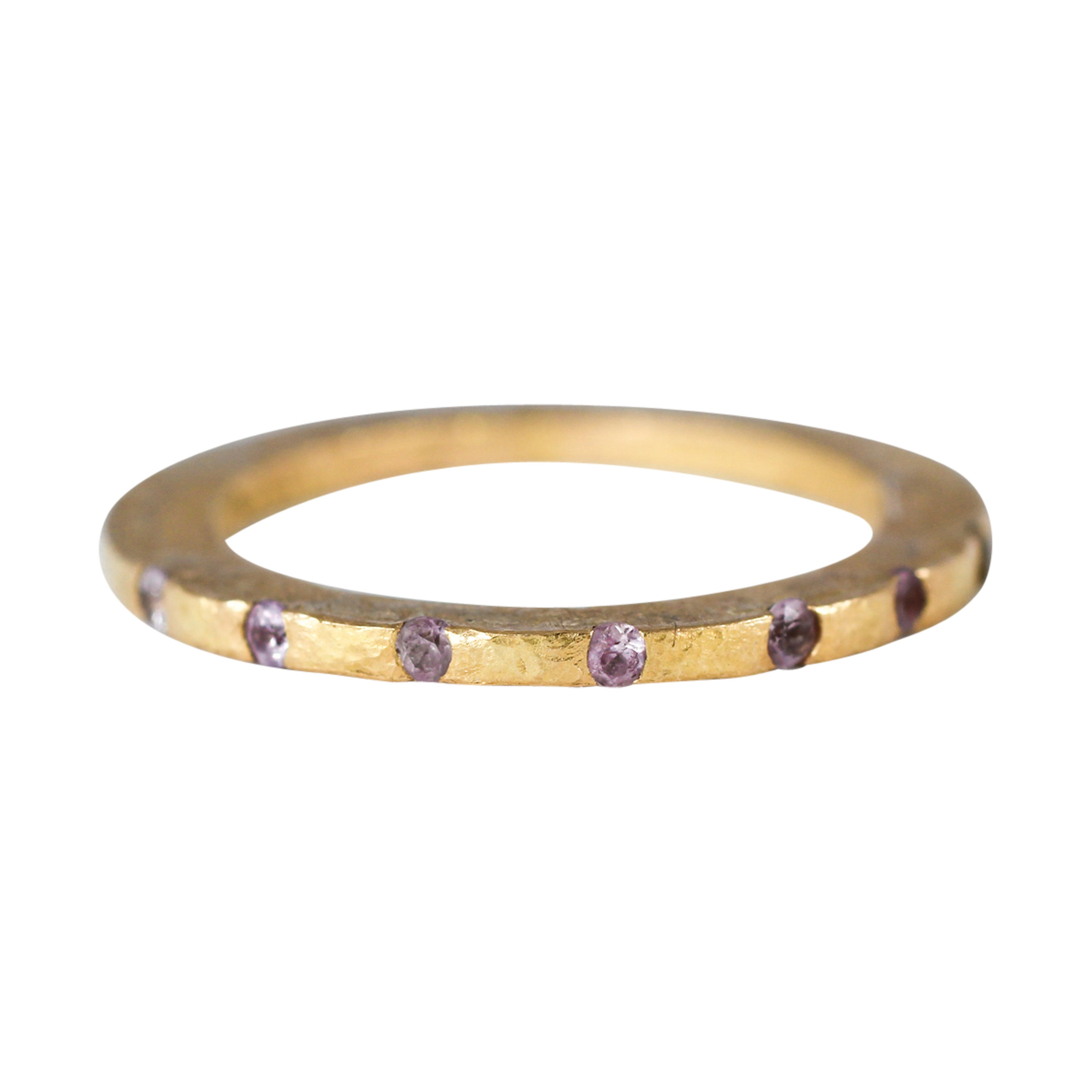 Pink Sapphires Recycled 22K Gold Bridal Wedding Ring by AB Jewelry NYC