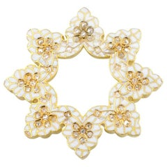 Victorian White Enamel 18K Gold Snowflake Brooch with Rose Cut Diamonds