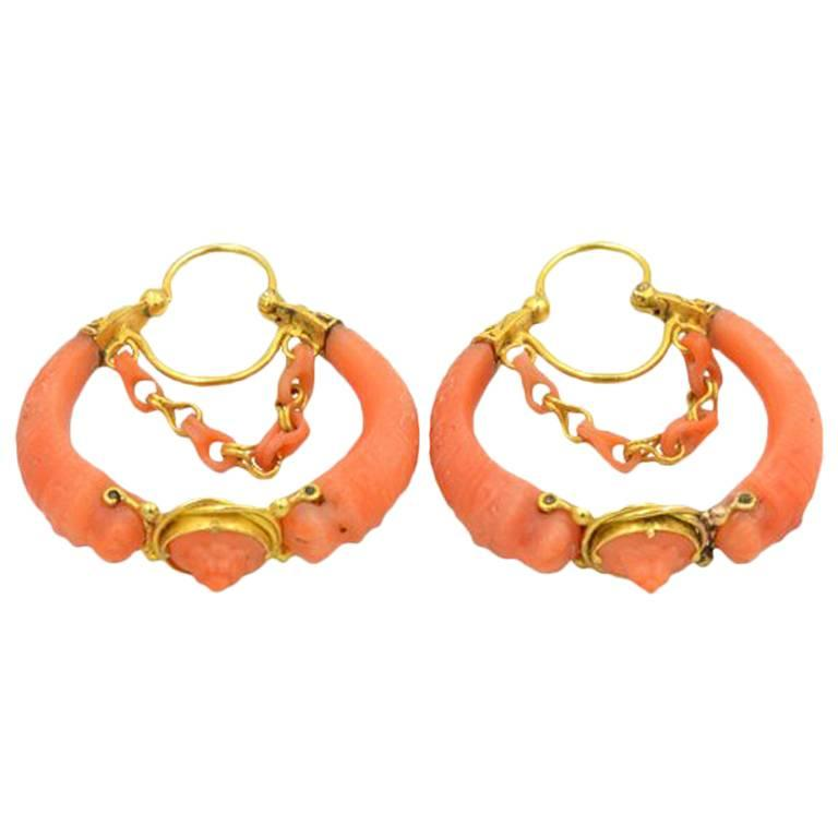 Antique Victorian 18 Karat Gold and Carved Coral Hoop Earrings