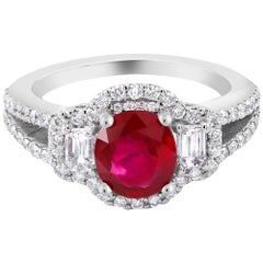 No Heat Magok Burma Ruby Platinum Diamond Ring GIA Certificate
