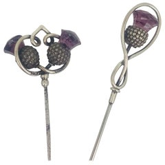 Charles Horner, Victorian Two Hat Pins, Sterling Purple Colored, circa 1860