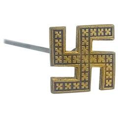 Hat Pin, World War 2 Swastika, Vermeil Nazi Swastika, circa 1939