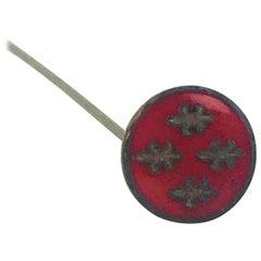 1860s Belle Epoque French Hat Pin, Red Enamel Fleur de Lis