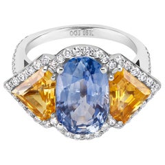 Blue and Yellow Ceylon Sapphire Diamond Ring Weighing 8.26 Carat