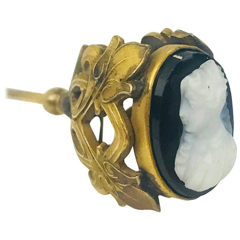 Black Cameo Hat Pin, Victorian circa 1850 Floral Design