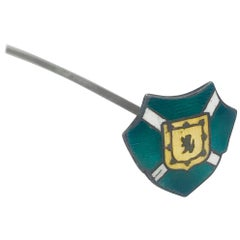 Sterling Enamel Hat Pin, Family Crest or Coat of Arms, circa 1850, Victorian